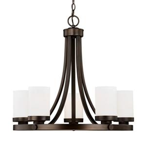 Cascadia Sorin 5-Light Bronze Wheel Chandelier White Glass