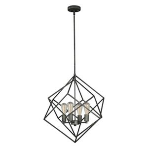 Cascadia Rad 4-Light Black Mid-Century Modern Cage Bulb Pendant Light