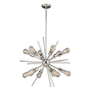 Cascadia Estelle 12-Light Nickel Mid-Century Modern Sputnik Pendant Light