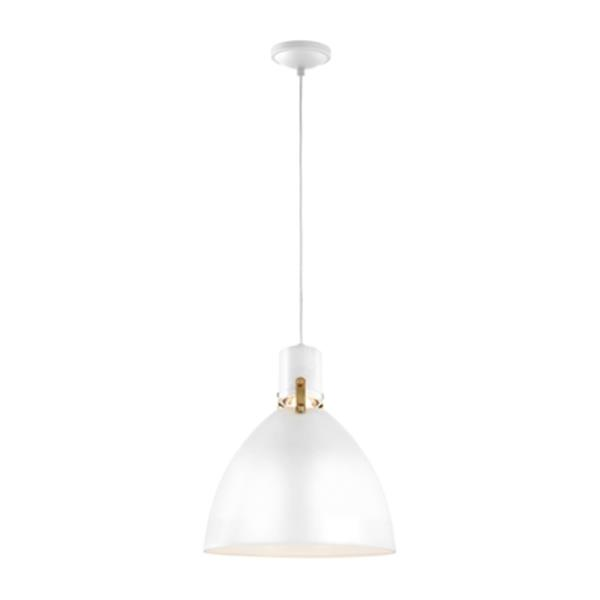Feiss Brynne Collection 14-in x 17-in Flat White Bell LED Pendant Light