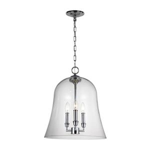 Feiss Lawler Collection 14.75-in x 19-in Chrome Bell 3-Light Pendant Light