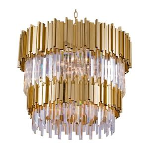 Bethel International Two Tier Gold Rod and Crystal Chandelier
