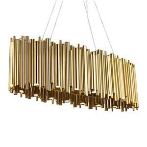 Bethel International Oval LED Gold Steel Rod Chandelier