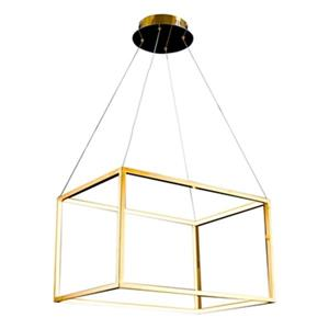 Bethel International 15.7-in x 13.7-in Gold Floating Rectangle LED Pendant Light