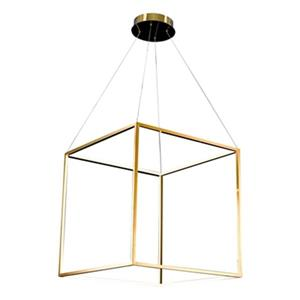 Bethel International 25.5-in x 25.5-in Gold Floating Cube LED Pendant Light