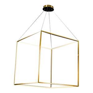 Bethel International 35-in x 35-in Gold Floating Cube LED Pendant Light