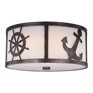 Cascadia Nautique 3-Light Bronze Coastal Flush Mount Ceiling Light