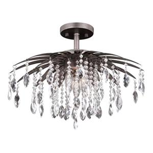 Cascadia Etrienne Crystal Bronze Semi Flush Mount Ceiling Light