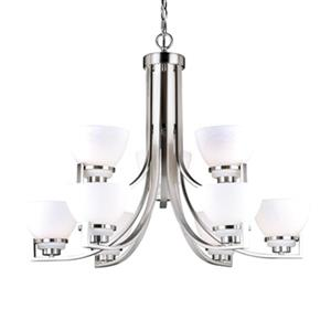 Cascadia Lighting Metropolis 9-Light Satin Nickel Chandelier