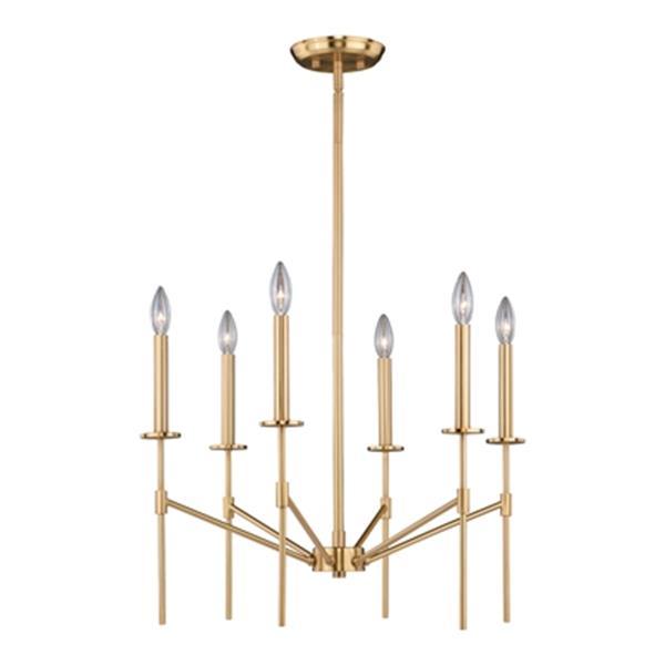 Cascadia Lighting Kedzie 6-Light Natural Brass Chandelier