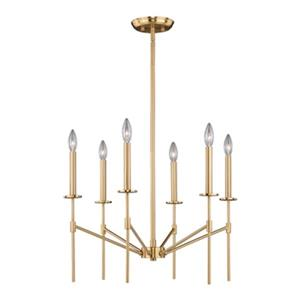 Cascadia Lighting Kedzie 6-Light Natural Brass Chandelier