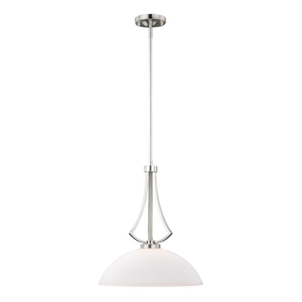 Cascadia Lighting Mea Collection 15.75-in x 21.5-in Satin Nickel Dome Pendant Light