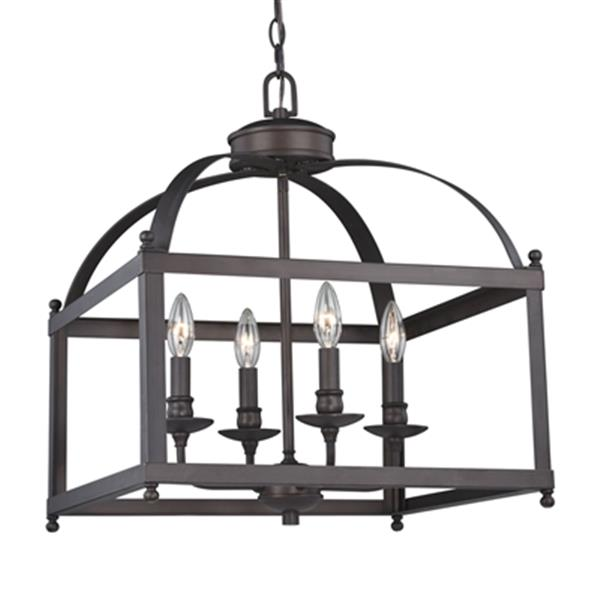Cascadia Lighting Juliet Collection 18-in x 21-in Architectural Bronze 4-Light Cage Pendant Light