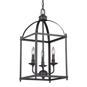 Cascadia Lighting Juliet Collection 12-in x 25-in Architectural Bronze 3-Light Lantern Pendant Light