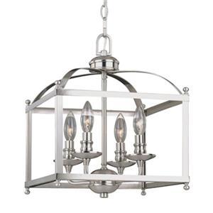 Cascadia Juliet 4-Light Satin Nickel Lantern Candle Pendant Light