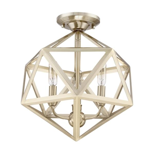 Quoizel Liberty Park 14.62-in x 13.12-in Gold 3-Light Semi-Flush Mount Light