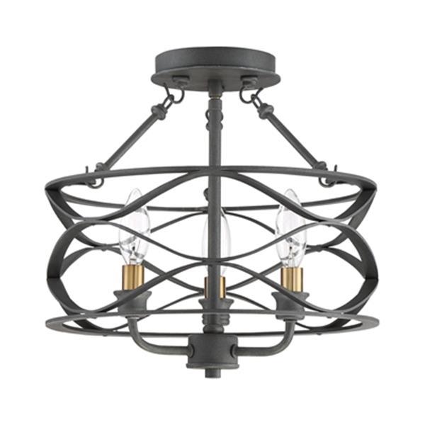 Quoizel Unity 12.5-in x 13-in Matte Black And Gold 3-Light Semi-Flush Mount Light