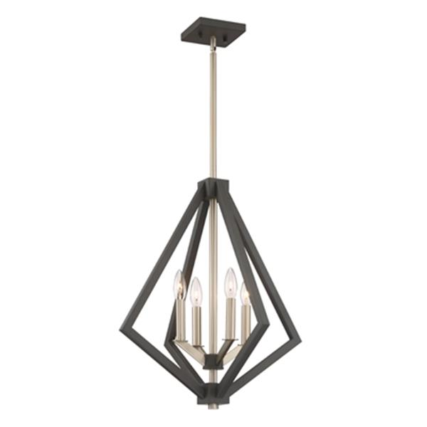 Artcraft Lighting Breezy Point Collection 20-in x 23.25-in Bronze Cage 4-Light Pendant Light