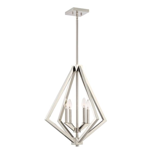Artcraft Lighting Breezy Point Collection 20-in x 23.25-in Polished Nickel Cage 4-Light Pendant Light