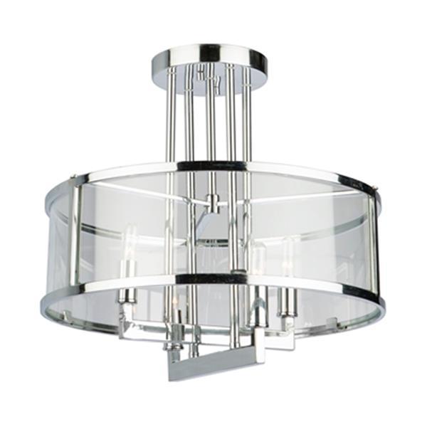 Artcraft Lighting Brinkley 16-in x 16.5-in Chrome 4-Light Semi-Flush Ceiling Light