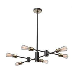 Artcraft Lighting Tribeca Matte Black/Satin Brass 6-Light Chandelier