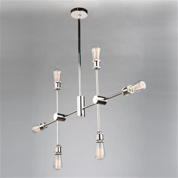 Artcraft Lighting Tribeca Polished Nickel 6-Light Chandelier