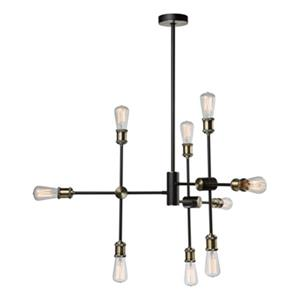 Artcraft Lighting Tribeca Matte Black/Satin Brass 9-Light Chandelier