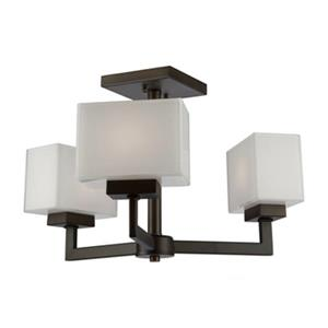 Steven & Chris by Artcraft  Cube Light 11.5-in x 10-in Bronze 3-Light Semi-Flush Ceiling Light