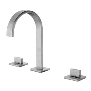 ALFI Brand Brushed Nickel Gooseneck Widespread Bathroom Faucet