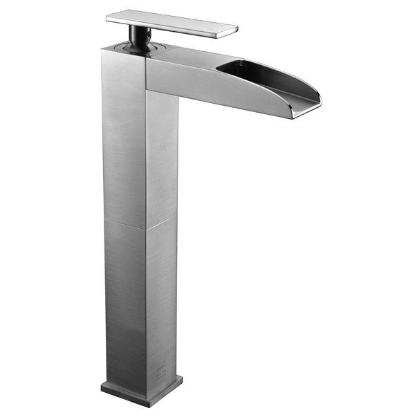 ALFI Brand Brushed Nickel Single Hole Tall Waterfall Bathroom Faucet