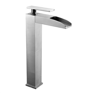 ALFI Brand Brushed Nickel Single Hole Tall Waterfall Bathroom Faucet