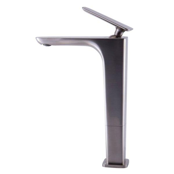 ALFI Brand Brushed Nickel Tall Single Hole Modern Bathroom Faucet