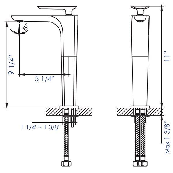 ALFI Brand Polished Chrome Tall Single Hole Modern Bathroom Faucet