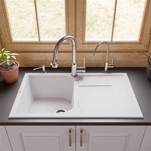 ALFI Brand 33.88-in x 19.75-in White Single Bowl Granite Composite Kitchen Sink