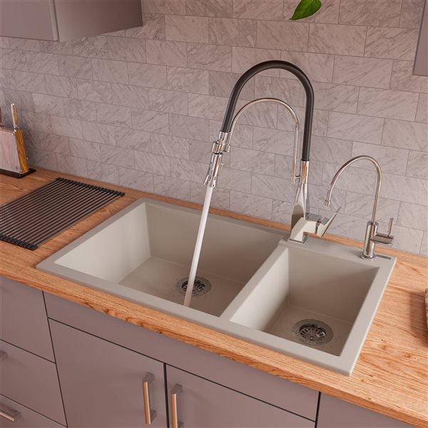 ALFI Brand 33.88-in x 19.75-in Biscuit Double Bowl Drop-in Granite Composite Kitchen Sink
