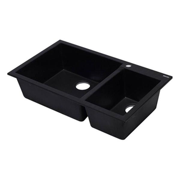 ALFI Brand 33.88-in x 19.75-in Black Double Bowl Drop-in Granite Composite Kitchen Sink