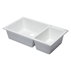 ALFI Brand 33.88-in x 19.75-in White Double Bowl Drop-in Granite Composite Kitchen Sink