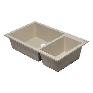 ALFI Brand 33.88-in x 19.13-in Biscuit Double Bowl Undermount Granite Composite  Kitchen Sink