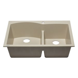 ALFI Brand 33-in x 22-in Bisquit Double Bowl Drop-in Granite Composite Kitchen Sink