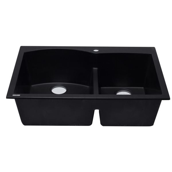 ALFI Brand 33-in x 22-in Black Double Bowl Drop-in Granite Composite Kitchen Sink