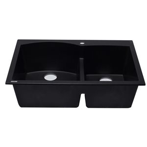 ALFI Brand 33-in x 22-in Black Double Bowl Drop-in Granite Composite Kitchen Sink