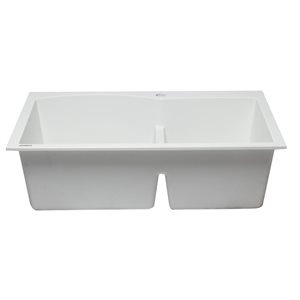 ALFI Brand 33-in x 22-in White Double Bowl Drop-in Granite Composite Kitchen Sink