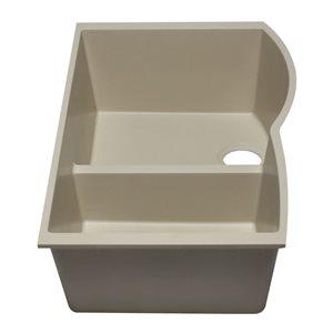 ALFI Brand 33-in x 20.75-in Off White Double Bowl Undermount Granite Composite Kitchen Sink