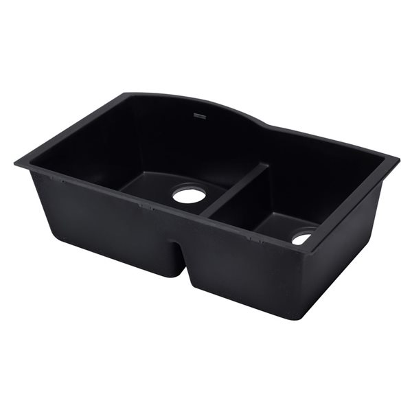 ALFI Brand 33-in x 20.75-in Black Double Bowl Undermount Granite Composite Kitchen Sink