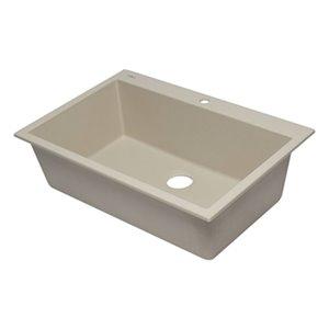 ALFI Brand 33-in x 22-in Off White Single Bowl Drop-In Granite Composite Kitchen Sink