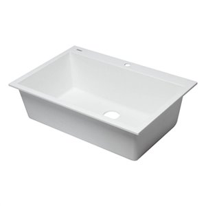 ALFI Brand 33-in x 22-in White Single Bowl Drop-In Granite Composite Kitchen Sink