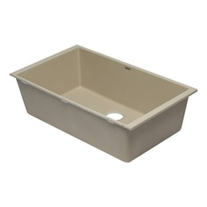 ALFI Brand 33-in x 19.38-in Off White Single Bowl Undermount Granite Composite Kitchen Sink