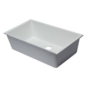 ALFI Brand 33-in x 19.38-in White Single Bowl Undermount Granite Composite Kitchen Sink