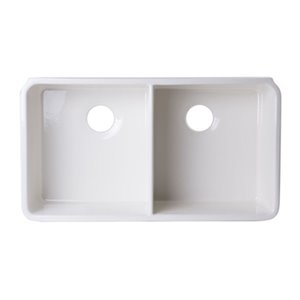 ALFI Brand 32-in x 18-in Off White Double Bowl Fireclay Undermount Kitchen Sink