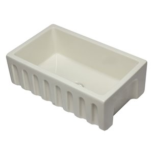 ALFI Brand 29.88-in x 18.13-in Biscuit Reversible Smooth/Fluted Single Bowl Fireclay Farm Sink